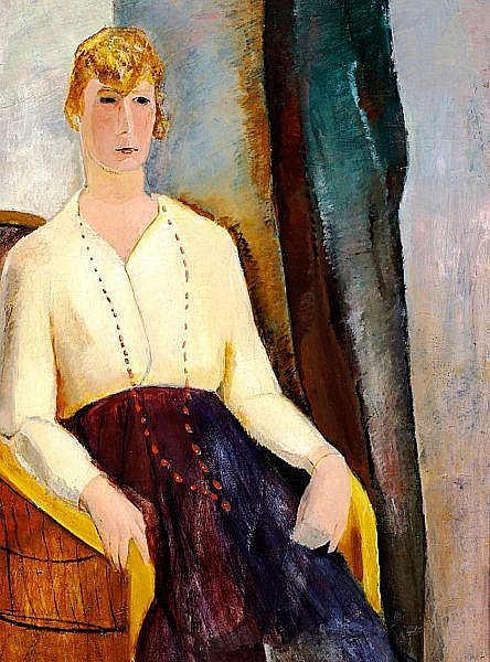 Ebba Carstensen: A seated woman, 1920. Signed and dated on the reverse. Oil on canvas. 89 x 64 cm.