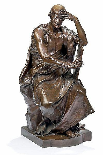 A French bronze figure entitled Ètude et Méditation (education and thought) reduction cast by Barbedienne after a model by Paul Dubois (1829-1905), c. 1885.
