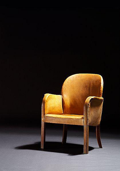 Arne Jacobsen: Unique Cuban mahogany armchair. Sides, back and seat upholstered with original, patinated natural leather.