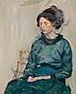 "Harald Giersing: ""Ung dame i grøn kjole"" (Young lady in a green dress). Portrait of Else Sandholt, 1911. Unsigned. Oil on compoboard. 92 x 78 cm."