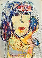 Gina Pellon: Portrait of woman. Signed Gina Pellon