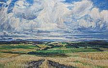 Knud Agger: Scenery, Jutland. Signed Agger. Oil on