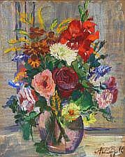 N.P. Bolt: Still life with flowers. Signed N. P.