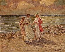 Georg Valdemar Gundorff : Three women on a beach.