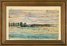 Peter Hansen Harvest landscape. Signed and dated