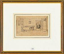 Wilhelm Bendz Living room interior. Inscribed