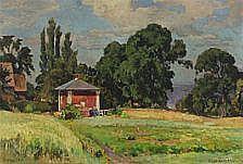 Viggo Pedersen : Malerhuset ved Haga. Signed Viggo