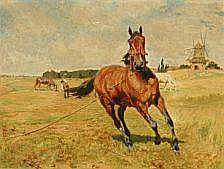 Vilhelm Th. Fischer : Grazing horses near a mill.