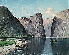 Nels Hagerup : Norwegian fiord scene. Signed and