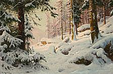 Walter Moras : Forest scene at winter time. Signed