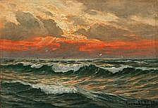 Conrad Selmyhr : Coastal scene at sunset. Signed