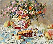 Elena Petrova: Still life with flowers, fruit and