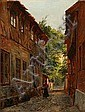 August Fischer: Scene from Ribe with a woman and a, August (1854) Fischer, Click for value