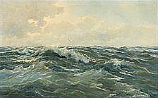 Meeuwis Van Buuren: Rough sea. Signed Meeuwis V.