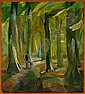 Ebba Carstensen: Woman on a bench in a forest., Ebba Carstensen, Click for value
