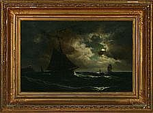 Carl Bille: Maritime scenery with wessels in