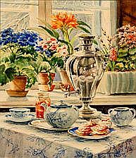 Olga Alexandrovna: Tea table with blue painted
