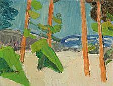 Kjell Lodberg Holm: Vinterlandskap med blått og