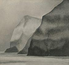 Svend Åge Madsen: Grey mountains. Signed Sam. Oil
