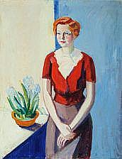 Axel Bentzen: Portrait of woman in red cardigan at