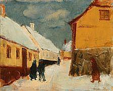 Mogens Hertz : Street scenery, Winter, Gudhjem.