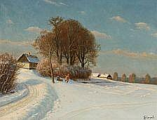 Emil Wennerwald : Winter landscape with two