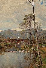 C. M. Soya-Jensen : River landscape with women