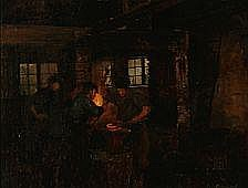 Anker Lund : Blacksmiths in work. Signed and dated