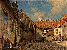 C. M. Soya-Jensen : Farm exterior with chickens.