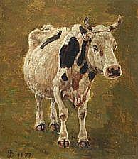 Niels Skovgaard : A piebald cow. Signed monogram.