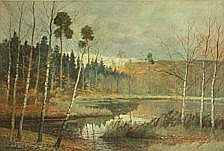 Carl Wennemoes: Autumn scenery with a lake and