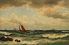 Carl Bille: Fishing boats in rough breakers.