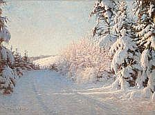 Sigvard Hansen: Winter landscape in the red glow