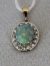 A Two Colour Gold Diamond and Opal Set Pendent