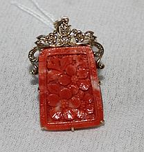 A Chinese Gold Mounted Coral Pendent ,