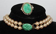 A Suite of Paste Pearls and Peking Glass,
