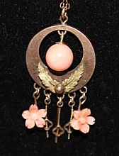 A Chinese Coral Pendent , c 1920,