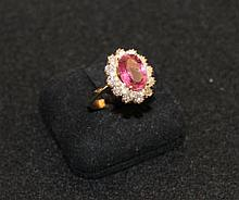 A Tourmaline and Diamond Set Ring