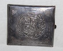 A Puruvian Silver Cigarette Case, Marked Puru 925