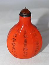 A Chinese Orange Peking Glass Snuff Bottle