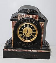 A 19th Century Black Slate and Rouge Marble Clock