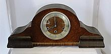 A German Walnut Veneered Mantle Clock c 1930