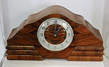 A German Walnut Veneered Mantle Clock c 1950