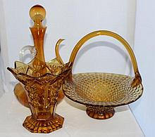 A Selection of Amber Glass , c 1960,