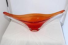 A Murano Two Colour Freeform Vase, c 1960,