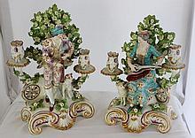 A Pair of Sampson Porcelain Figural Candlesticks, c 1860