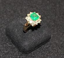 An Emerald and Diamond Set Ring
