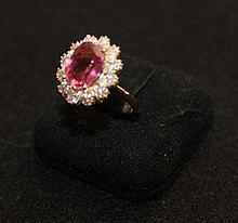 A Tourmaline and Diamond Set Ring