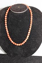 A Good Vintage Gold Mounted Chinese Strand of Coral Beads,