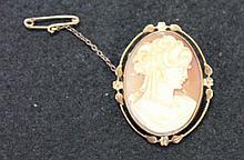 A Vintage Rose Gold Cameo Set Brooch ,